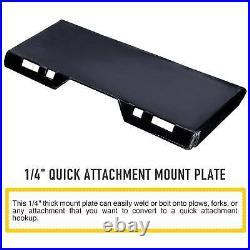 1/4 Steel Quick Tach Attachment Mount Plate Kubota Bobcat Skidsteer Loader