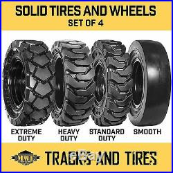 10-16.5 10x16.5 Flat Free Solid Rubber Skid Steer Tires SD, HD, XD, or Smooth