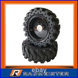 12x16.5 / 33x12-20 Solid Skid Steer Tires 4x withRims