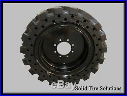 12x16.5 / 33x12x20 Solid Skid Steer Tires Set of 4 with Rims