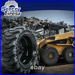 12x16.5 Sentry Tire Skid Steer Solid Tires 4 with Wheels for NEW HOLLAND 12-16.5