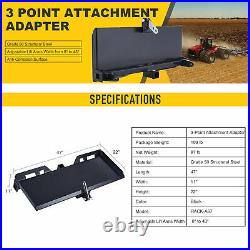 3-Point Attachment Adapter 47 Trailer Hitch for Kubota Bobcat Skidsteer Tractor