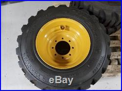 4 NEW 12 X 16.5 Skid Steer Tires & Rims for CASE, NEW HOLLAND 12x16.5 14 ply