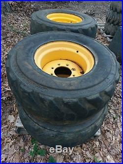 John Deere Skid Steer >> 4 Used 14-17.5 FOAM FILLED Skid Steer Tires & Rims for New ...