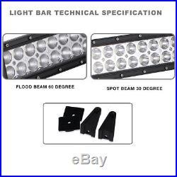 40 Curved LED Light Bar+ Wires Construction Backhoe Loader Excavator Skid Steer