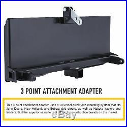 47 3-Point Attachment Adapter Trailer Hitch Kubota Bobcat Skidsteer Tractor