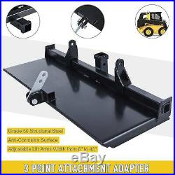 47 Skidsteer 3-Point to Quick Tach Adapter Adjustable Arms Hitch Heavy-Duty