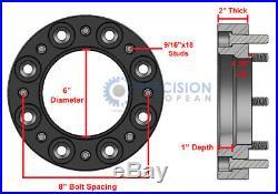 4pc 2 Skid Steer Steel Black Wheel Spacers for 8 Lug John Deere New Holland