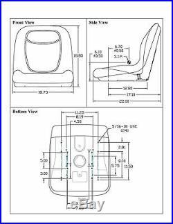 Black HIGH BACK SEAT with Slide Track Kit for Ford New Holland Skid Steer Loader