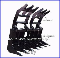NEW 72 SEVERE-DUTY VERTICAL ROOT GRAPPLE RAKE ATTACHMENT for Skid-Steer Loader
