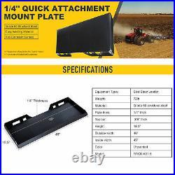 Quick Attachment Mount Plate Grade 50 Steel for Kubota Bobcat Skid Steer 1/4