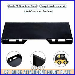 Quick Attachment Mount Plate Kubota Bobcat Skid Steer Grade 50 Steel 1/2
