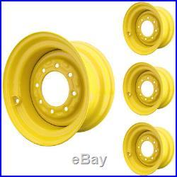 Set of 4 8 Lug New Holland L785 Skid Steer Wheels 9.75x16.5 12x16.5 Tires