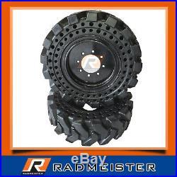 Set of 4 Solid Skid Steer Tires 10x16.5 withRims Bobcat CAT John Deere New Holland